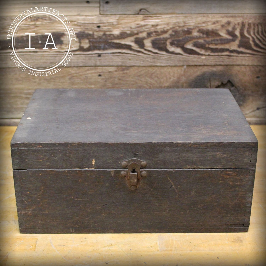 Vintage Industrial Dovetail Joint Tool Box Chest Oak Wood Container Trunk