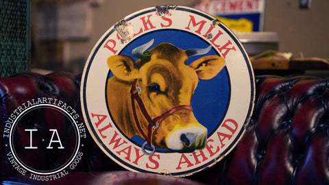 Porcelain Double-Sided Polk's Milk Advertising Sign