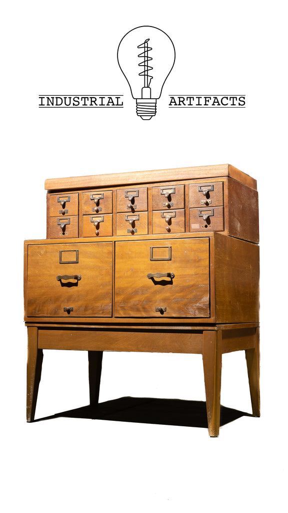Mid Century Standing Card Catalogue And File Cabinet
