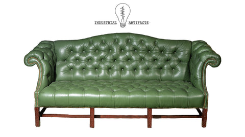 Antique Tufted Leather Chesterfield In Green