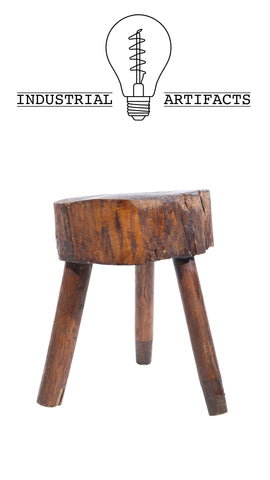 Rustic Live Edge Slab Craftsman Stool