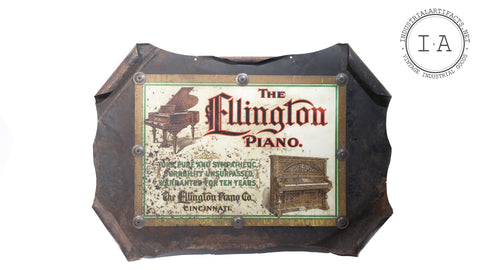 Antique Self Framed Ellington Piano Sign