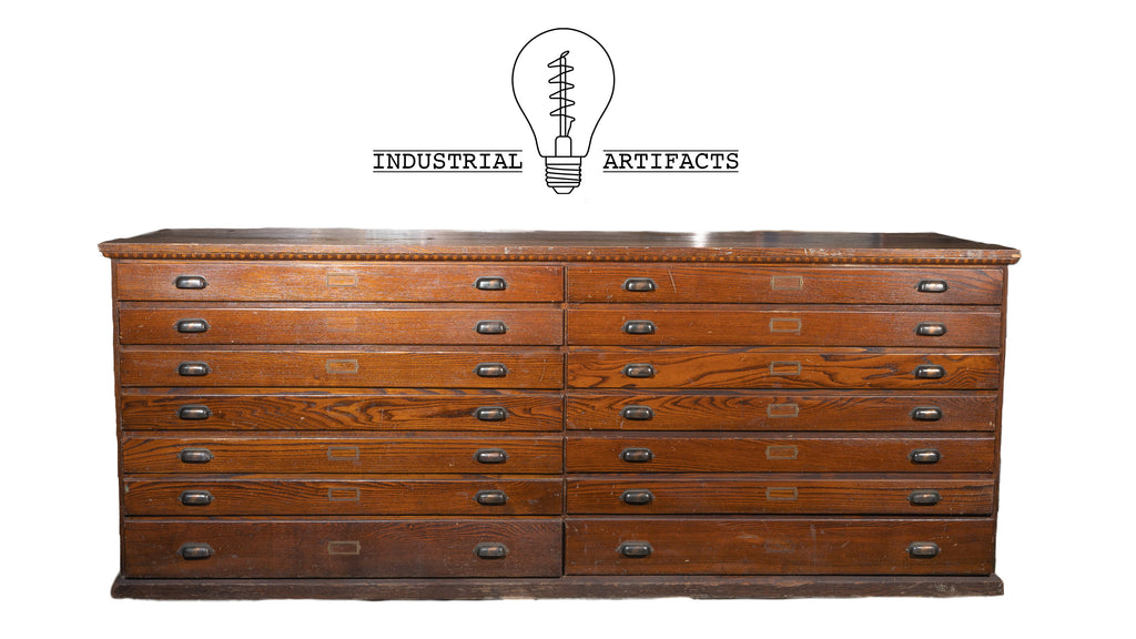 14 Drawer Double Flat File Countertop Cabinet