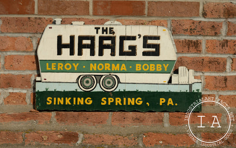 Antique Wooden Haags Camper Sign