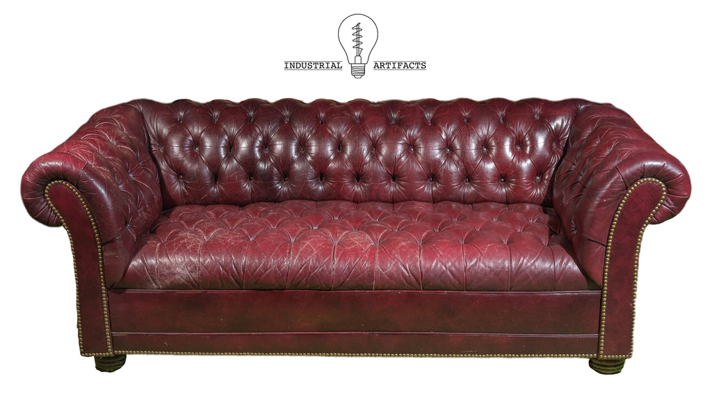 Vintage Leather Tufted Chesterfield Sofa in Oxblood