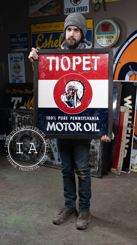Antique Tiopet Motor Oil Single Sided Painted Tin Framed
