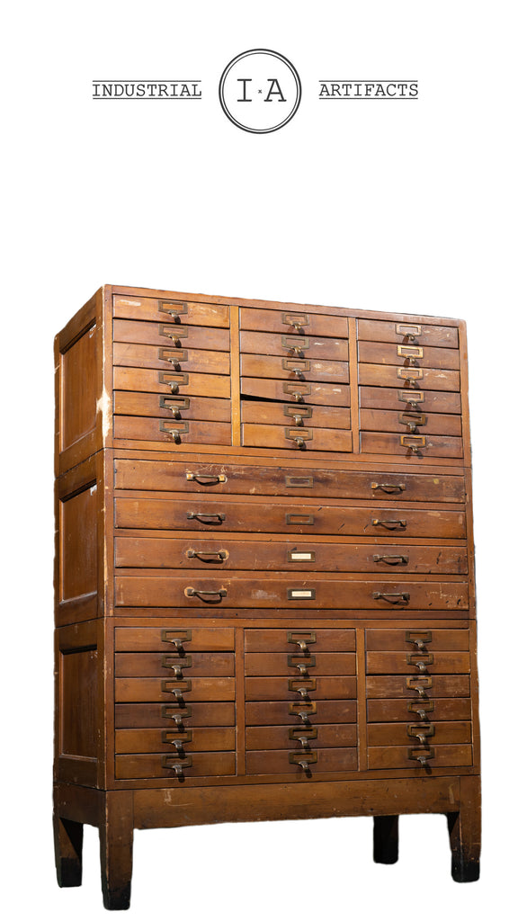 Early 20th Century Industrial Flat File Parts Cabinet