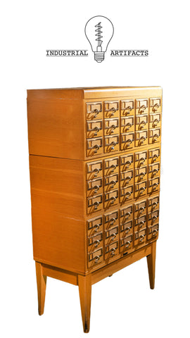 Antique Modular Five Section Standing Card Catalogue
