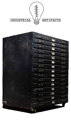 Early Industrial Fifteen Drawer Flat File With Casters