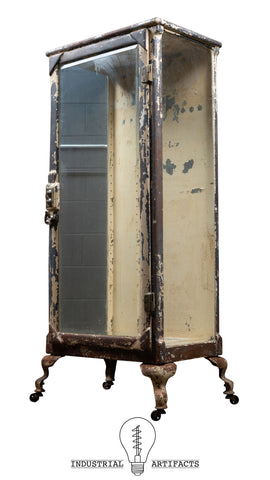 Antique Chippy Paint Medical Cabinet With Beveled Glass