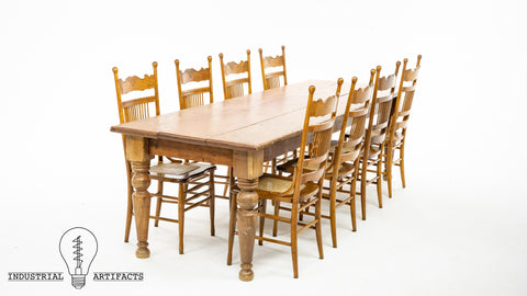 Late 19th Century Old Growth Pine Harvest Table With Chairs