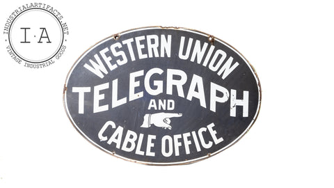 Original Double Sided Porcelain Western Union Telegraph Sign