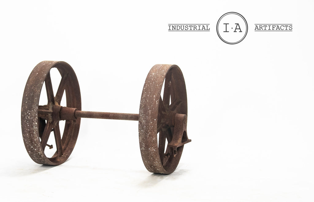Antique Industrial Cart Wheel & Axle Set by Nutting