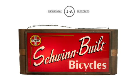 C. 1930 Art Deco Glass Schwinn Bicycle Sign