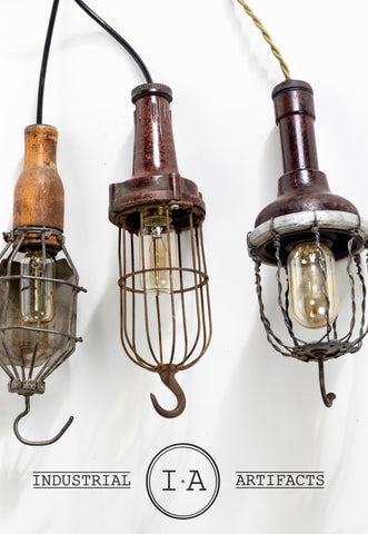 Antique Industrial Chic Hanging Work Lamp