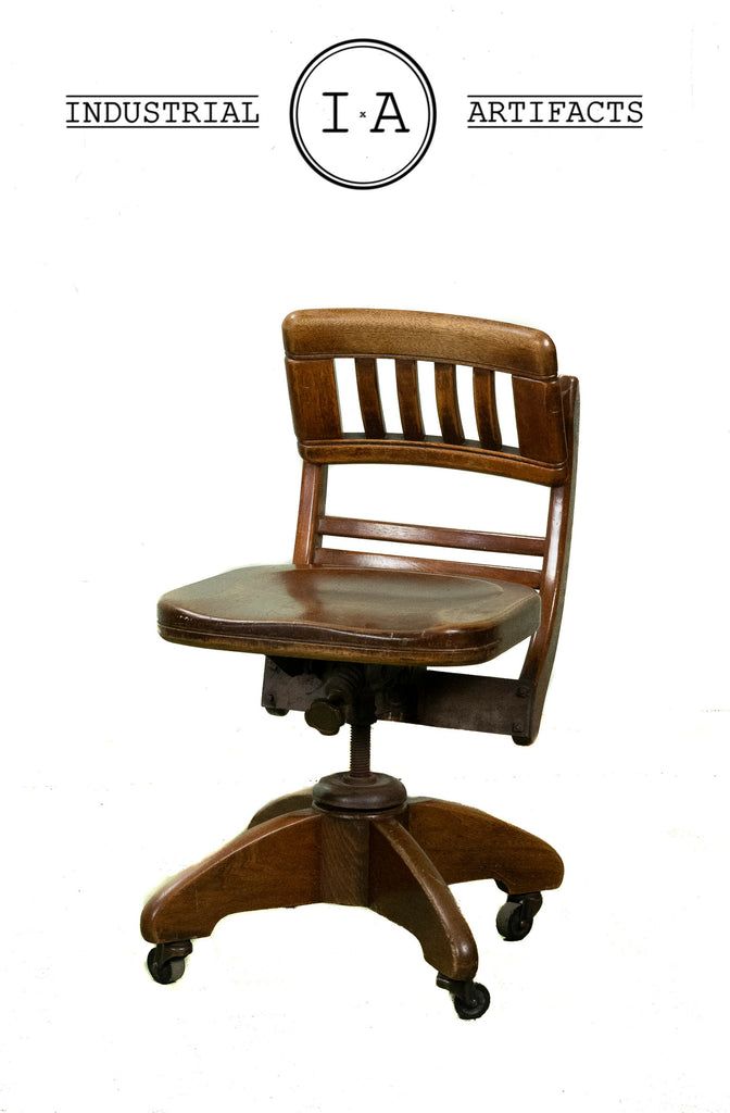 C. 1920 Wooden Bankers Swivel Chair