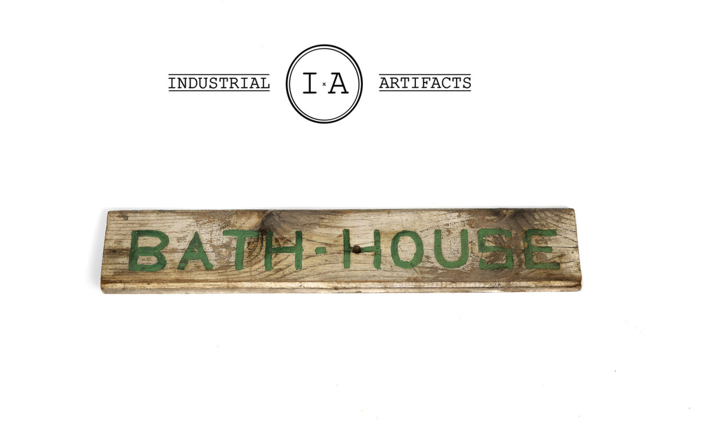 Early American Primitive Hand Painted Wooden Bath House Sign