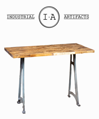 Industrial Antique Butcher Block Desk With Cast Iron Machine Legs