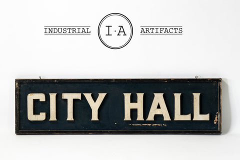 Vintage Double Sided City Hall Wooden Sign