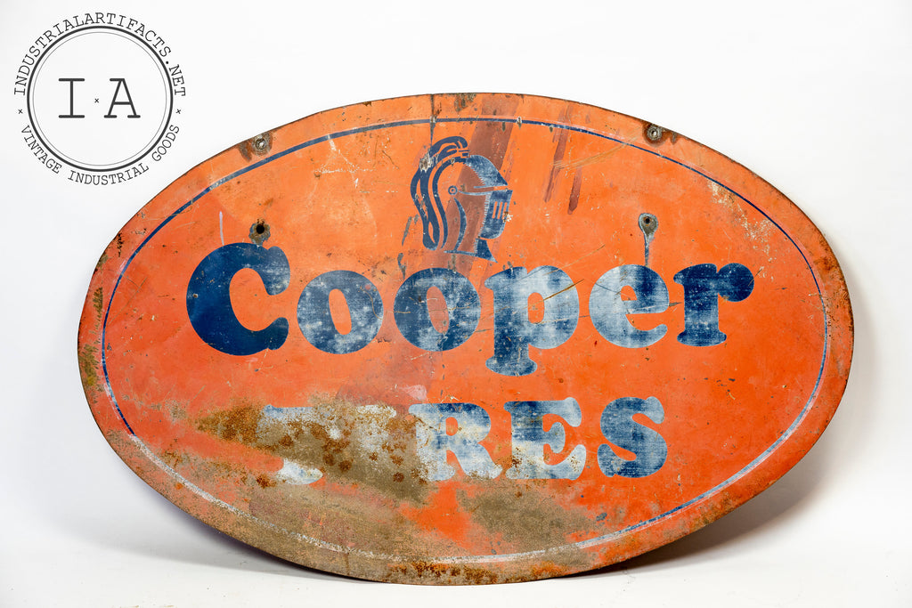 Antique Double Sided Cooper Tires Tin Sign