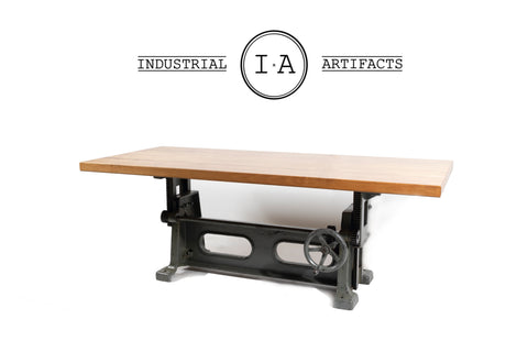 Industrial Antique Crank Base Dining & Conference Table