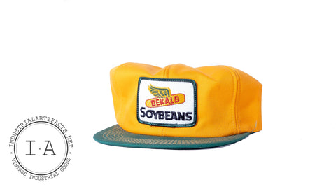 Vintage Yellow Corduroy DeKalb Soybeans Farmer Hat