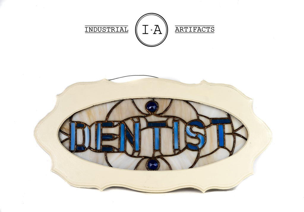 Early American Preserved Stained Glass Dentist Advertising Trade Sign
