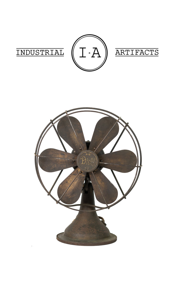 C. 1920 Articulating Oscillating Six Blade Desk Fan By Diehl