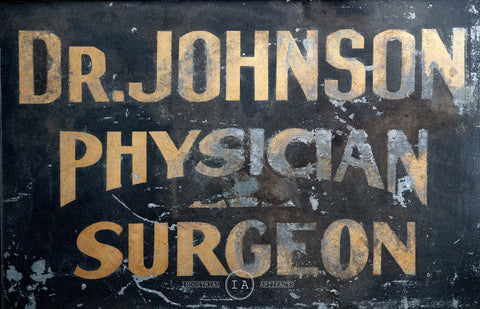 C. Early 1900s Smaltz Painted Gold Flake Surgeon Trade Sign With Flange