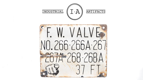 Antique Industrial Factory Porcelain Valve Sign
