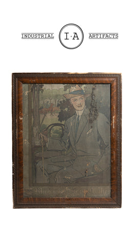 Late 19th Century Framed Cardboard Lithographic Menswear Sign