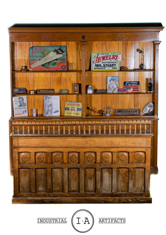 C. Early 1900s General Store Counter and Apothecary Back Bar Set