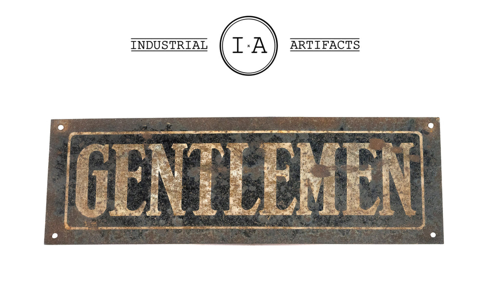 Antique Oxidized Tin Gentlemen Restroom Sign