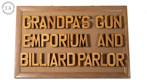 Vintage Handmade Gun And Billiards Room Sign