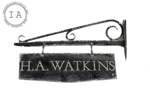 c. Early 1900s Double Sided Metal Watkins Flange Sign
