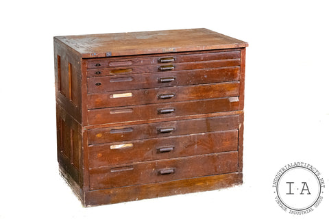 C. Early 1900s Hamilton Flat File Typeface Printers Cabinet