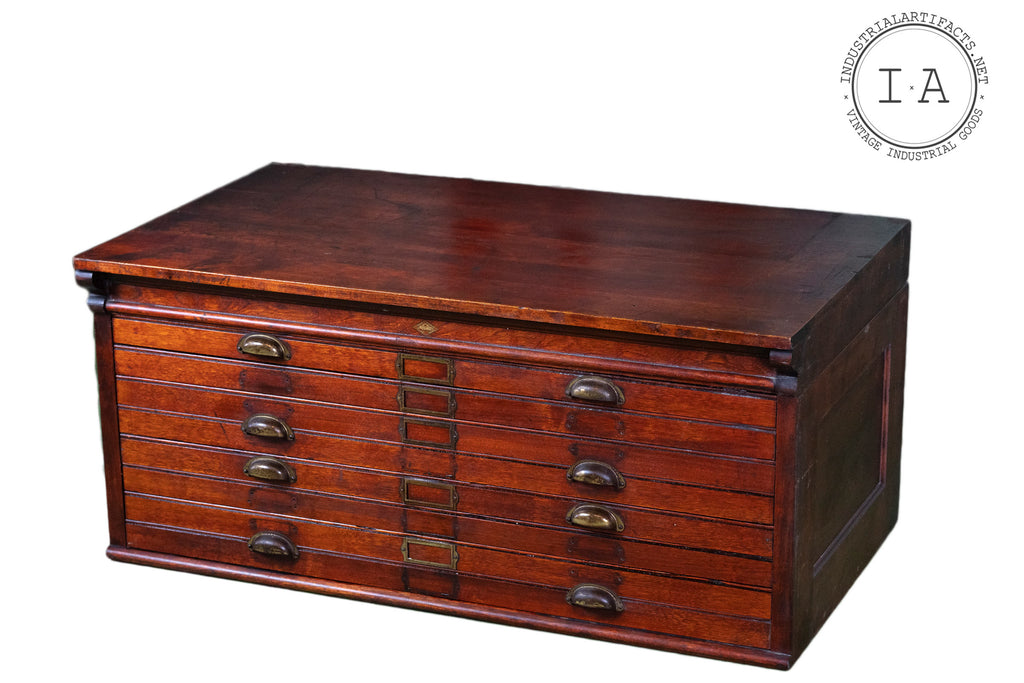 C. 1910 Wooden Flat File by Hamilton Mfg. Co.