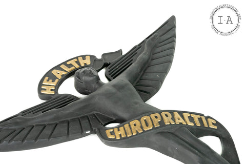 Vintage Plaster Chiropractic Health Medical Figural Sign