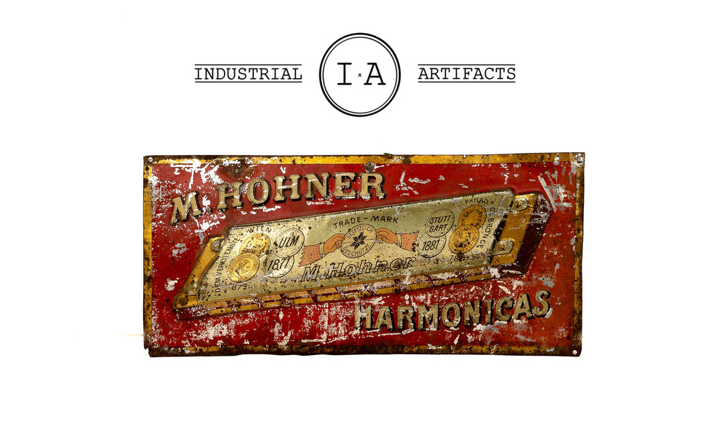 C. Early 1900s German Made Hohner Harmonica Embossed Tin Sign