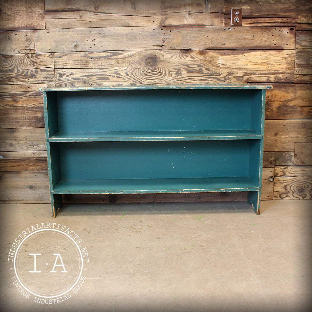 Vintage Mid Century Rustic Green Wood Shelf Antique