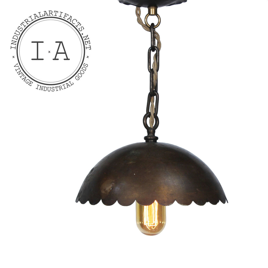 Vintage Industrial Scalloped Edge Shade Brass Hanging Lamp Ceiling Fixture Pendant