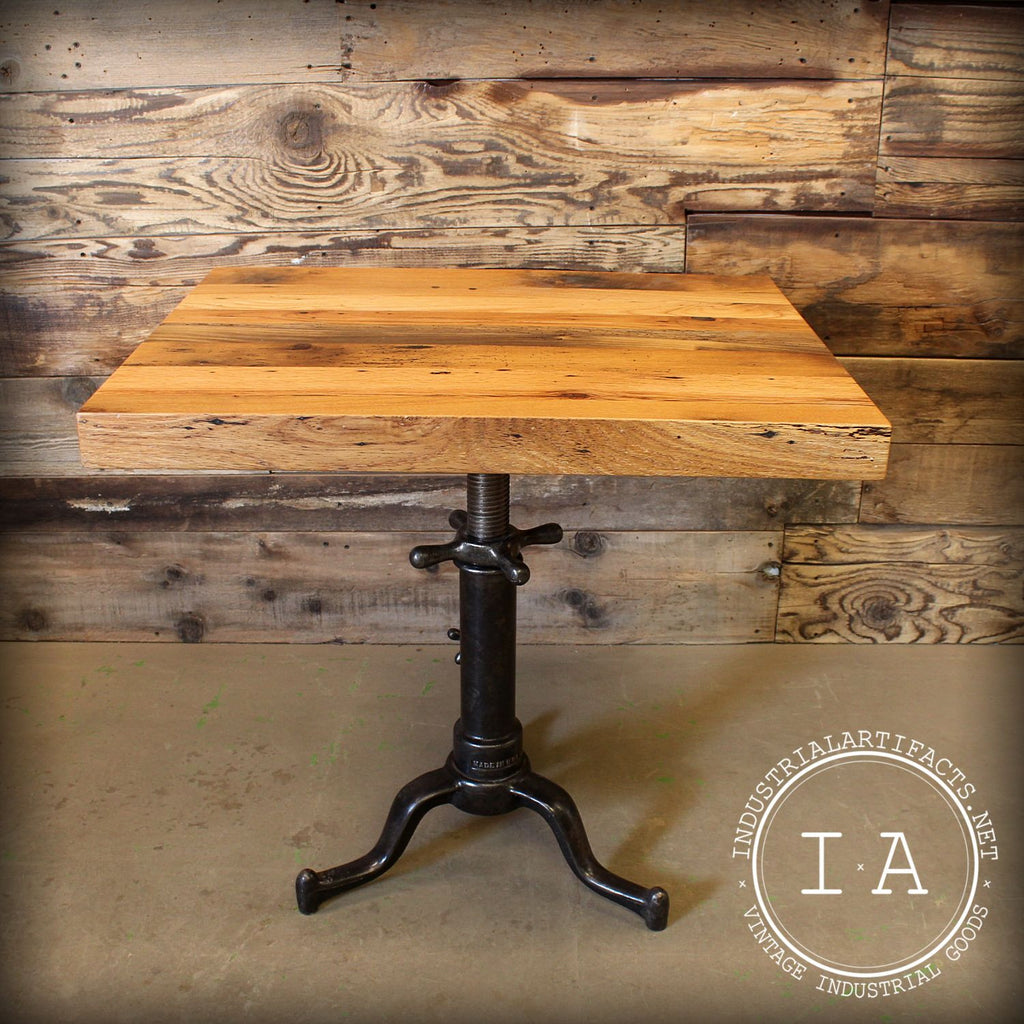 Vintage Industrial Antique Adjustable Height Cast Iron Base Table Reclaimed Wood Top