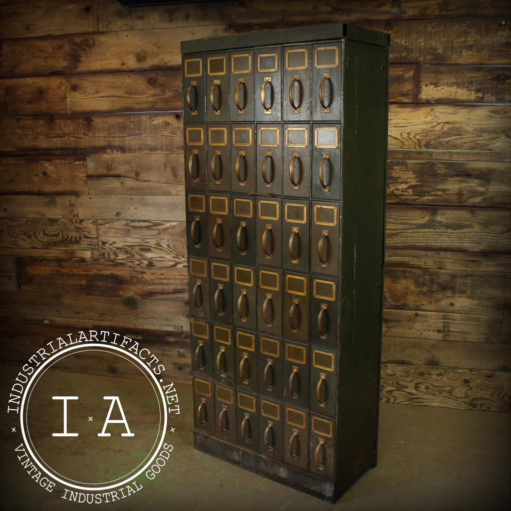 Vintage Industrial Steel 36 Drawer Steel Mail File Ledger Cabinet Card Catalog