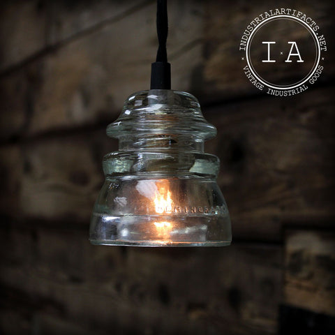 Vintage Industrial Style Repurposed Hanging Glass Insulator Ceiling Lamp Pendant