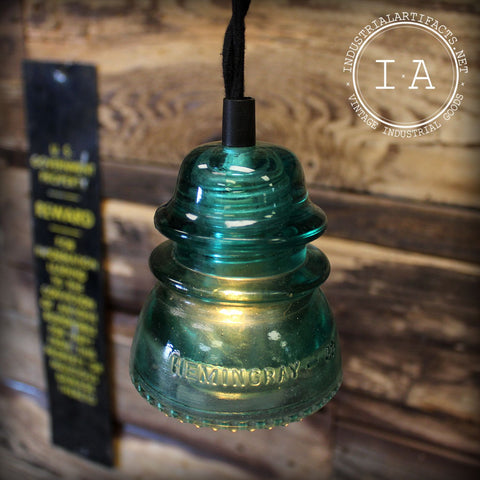 Vintage Industrial Style Blue Repurposed Hanging Glass Insulator Ceiling Lamp
