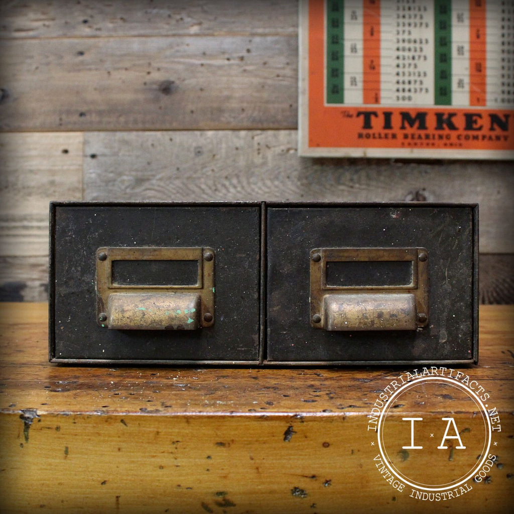 Vintage Industrial Art Metal File Cabinet Card Catalogue Storage Drawer