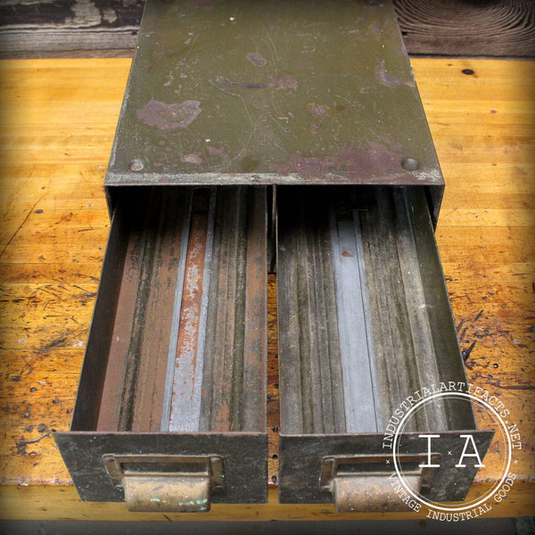 Vintage Industrial Art Metal File Cabinet Card Catalogue