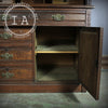 Antique Eastlake Walnut Cylinder Roll Top Desk w/ Glass Front Cabinet