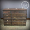 Antique Wooden 17 Drawer Flip Top Storage Map Cabinet
