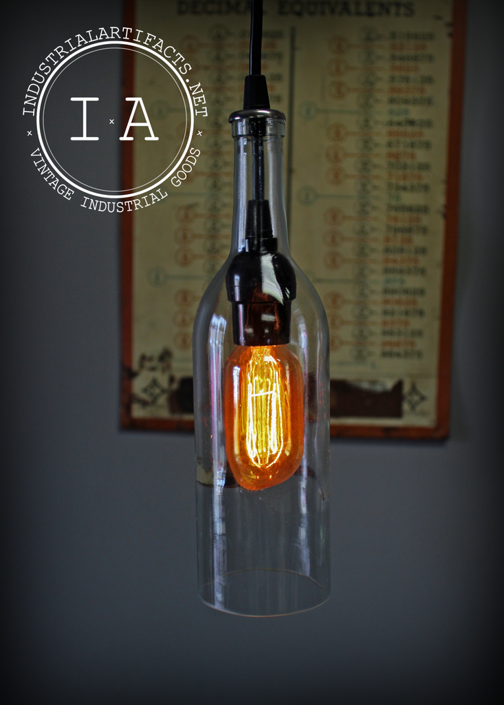 Vintage Industrial Style Clear Wine Bottle Hanging Pendant Lamp W/ Edison Bulb